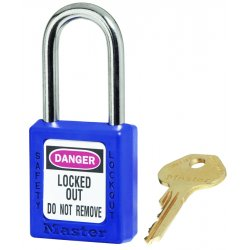 Master Lock - 410BLU - Blue Lockout Padlock, Different Key Type, Master Keyed: No, Thermoplastic Body Material