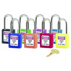 Master Lock - 410LTRED - Master Lock Red Thermoplastic Zenex 6 Pin Tumbler Padlock Steel Shackle