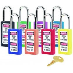 Master Lock - 411YLW - Yellow Lockout Padlock, Different Key Type, Master Keyed: No, Thermoplastic Body Material