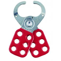 "Master Lock - 421 - Master Lock Red And Silver 2 3/8"" X 5"" Steel Heavy Duty Safety Lockout Hasp With 1 1/2"" Jaw"