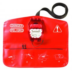 "Master Lock - 468L - Ball Valve Lockout, Red, 1/4"" Padlock Shackle Max. Dia., PVC/HDPE"