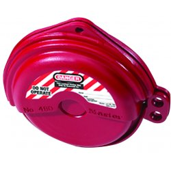"Master Lock - 480 - Gate Valve Lockout, Red, 5/16"" Padlock Shackle Max. Dia., Thermoplastic"