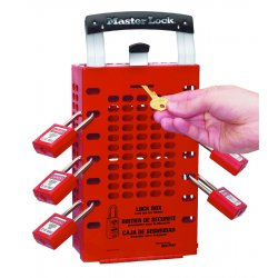 "Master Lock - 503RED - Red Steel Group Lockout Box, Max. Number of Padlocks: 14, 12-3/4"" x 6-3/8"""