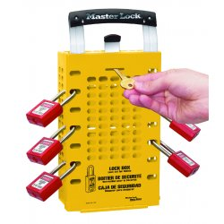 Master Lock - 503YLW - Yellow Steel Group Lockout Box, Max. Number of Padlocks: 14, 12-3/4 x 6-3/8