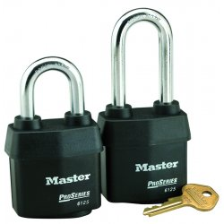 Master Lock - 6125 - Master Lock Black Laminated Steel Weather Resistant Security Padlock Boron Alloy Shackle