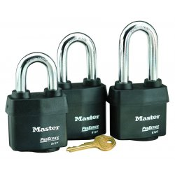 Master Lock - 6127LH - Master Lock Black Laminated Steel Weather Resistant Security Padlock Boron Alloy Shackle