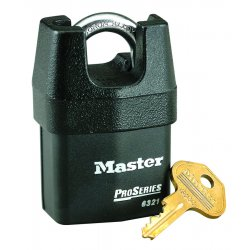 Master Lock - 6321 - Different-Keyed Padlock, Shrouded Shackle Type, 3/4 Shackle Height, Silver