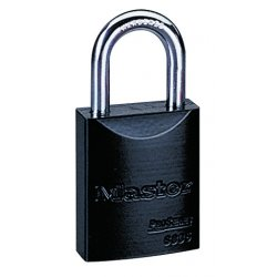 Master Lock - 6835BLK - Padlock 5 Pin 6835blk Pro Series Keyed Different 1 1/16 In Hx.25 In Dia Black Aluminum Master Lock Co., Ea