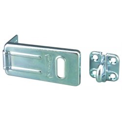 "Master Lock - 702D - Conventional Fixed Staple Hasp, 2-1/2"" Length, Steel, Zinc Plated Finish"