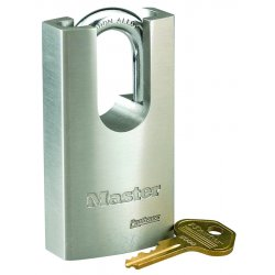 Master Lock - 7045 - Different-Keyed Padlock, Shrouded Shackle Type, 1-3/16 Shackle Height, Silver