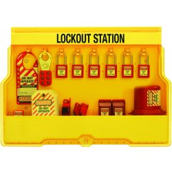Master Lock - S1850E410 - Master Lock Yellow Thermoplastic Zenex Wall Mount Lockout Station Steel Shackle