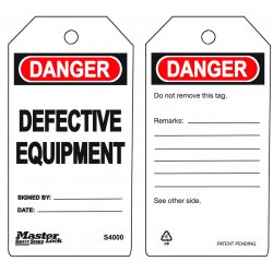 "Master Lock - S4000 - Polypropylene, Defective Equipment Safety Tag, 5-3/4"" Height, 3"" Width"