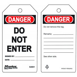 "Master Lock - S4001 - Master Lock White Polypropylene Guardian Extreme Safety Tag ""DANGER DO NOT ENTER"""