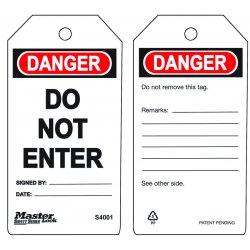 "Master Lock - S4001 - Danger Tag, Accident Prevention, Polypropylene, 5-3/4"" x 3"""