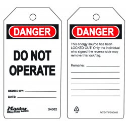 Master Lock - S4002 - Danger Tag, Polypropylene, Do Not Operate, 5-3/4 x 3, 6 PK