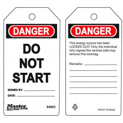 "Master Lock - S4003 - Danger Tag, Polypropylene, Do Not Start, 5-3/4"" x 3"", 6 PK"