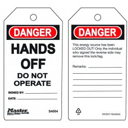 Master Lock - S4004 - Do Not Operate - Hands Off Safety Tag