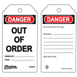 "Master Lock - S4005 - Polypropylene, Out Of Order Danger Tag, 5-3/4"" Height, 3"" Width"