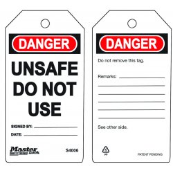 Master Lock - S4006 - Do Not Use - Unsafe Safety Tag