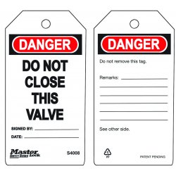Master Lock - S4008 - Do Not Close This Valvesafety Tag