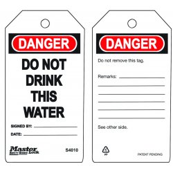 Master Lock - S4010 - Do Not Drink This Watersafety Tag