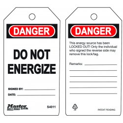 "Master Lock - S4011 - Danger Tag, Polypropylene, Do Not Energize, 5-3/4"" x 3"", 6 PK"