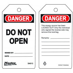 "Master Lock - S4013 - Danger Tag, Polypropylene, Do Not Open, 5-3/4"" x 3"", 6 PK"