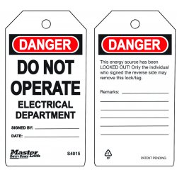 Master Lock - S4015 - Do Not Operate Electrical Department Safety Tag