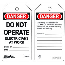 Master Lock - S4016 - Danger Tag, Polypropylene, Do Not Operate Electricians At Work, 5-3/4 x 3, 6 PK