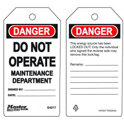 "Master Lock - S4017 - Danger Tag, Polypropylene, Do Not Operate, 5-3/4"" x 3"", 6 PK"