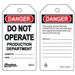 Master Lock - S4019 - Do Not Operate Production Department Safety Tag
