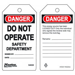Master Lock - S4020 - Do Not Operate - Safetydepartment Safety Tag