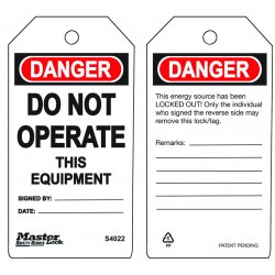 Master Lock - S4022 - Do Not Operate - This Equipment Safety Tag