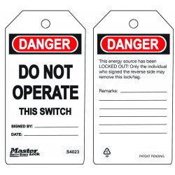 Master Lock - S4023 - Do Not Operate - This Switch Safety Tag