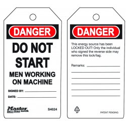 Master Lock - S4024 - Do Not Start - Men Working On Machine Safety Tag