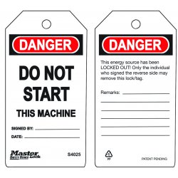 Master Lock - S4025 - Do Not Start - This Machine Safety Tag