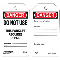 Master Lock - S4032 - Do Not Use - This Forklift Requires Repair Safet