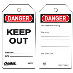"Master Lock - S4038 - Danger Tag, Accident Prevention, Polypropylene, 5-3/4"" x 3"""