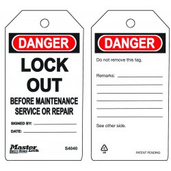 "Master Lock - S4040 - Master Lock White Polypropylene Guardian Extreme Safety Tag ""DANGER LOCK OUT BEFORE MAINTENANCE OR SERVICE REPAIR """