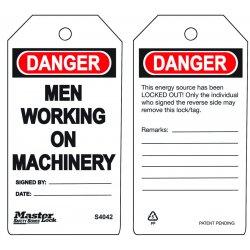 Master Lock - S4042 - Safety Tag, Polypropylene, Men Working On Machinery, 5-3/4 x 3, 6 PK
