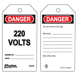 Master Lock - S4044 - 220 Volts Safety Tag