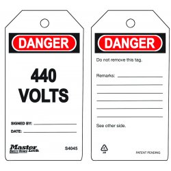 Master Lock - S4045 - 440 Volts Safety Tag