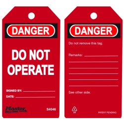 "Master Lock - S4046 - Danger Tag, Polypropylene, Do Not Operate, 5-3/4"" x 3"", 6 PK"