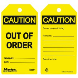 "Master Lock - S4051 - Caution Tag, Accident Prevention, Polypropylene, 5-3/4"" x 3"""