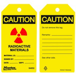 Master Lock - S4052 - Radioactive Materials Safety Tag