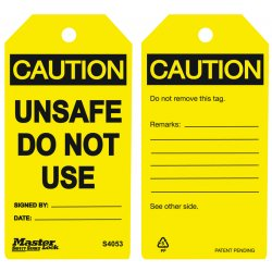 Master Lock - S4053 - Do Not Use - Unsafe Safety Tag