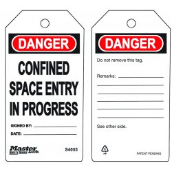 "Master Lock - S4055 - Polypropylene, Confined Space Entry In Progress Safety Tag, 5-3/4"" Height, 3"" Width"
