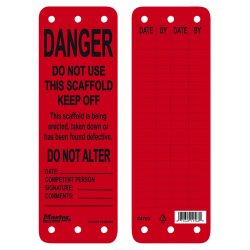 "Master Lock - S4700 - Industrial-Grade Polypropylene, Do Not Use This Scaffold - Keep Off Danger Tag, 9"" Height, 3"" Width"