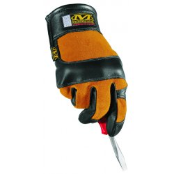 MechanixWear - MFG-05-010 - Mechanix Wear Large Black And Natural Fabricator Full Finger Genuine Leather Heavy Duty Mechanics Gloves With Extended Hook And Loop Cuff, Heat Resistant Panels And Fingertip Reinforcements On Ring, Middle, Index Fingers And