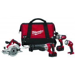 Milwaukee Electric Tool - 2690-24 - Milwaukee M18 18 V Lithium-Ion Redlithium XC 4-Tool Cordless Combination Kit (Includes M18 And M12 Multi-Voltage Charger, (2) M18 Redlithium XC Extended Capacity Battery, M18 SAWZALL Recip Saw, M18 Cordless LITHIUM-ION
